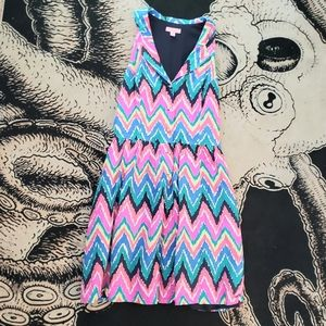 Lilly Pultizer Chevron Zig zag mini dress button 8